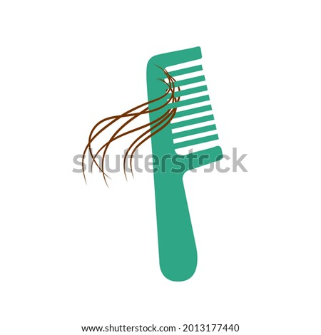 Hair loss woman problem. Female or male hair on comb. Vector illustration in flat style, isolated icon on а white background. Alopecia symptom because of stress and viral disease. Сток-фото ©