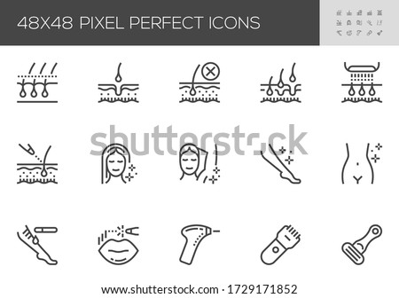 Hair Removal Vector Line Icons. Laser Epilation and Cosmetology. Smooth Skin. Body Face Hair Removal Methods. Shaving and Waxing. Editable Stroke. 48x48 Pixel Perfect.