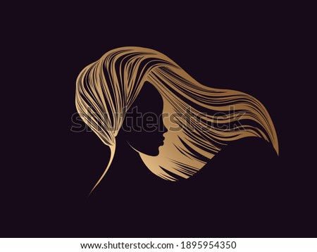 Hair salon and beauty studio illustration.Long, wavy hairstyle woman head silhouette.Cosmetics and spa golden icon isolated on dark fund.Young lady portrait.Beautiful model face.Luxury,glamour style.