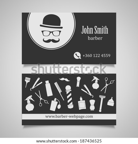 Barber business cards stock images photos website automatic hair salon barber business card design template friedricerecipe Choice Image