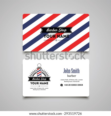 Hair salon barber shop Business Card design template.