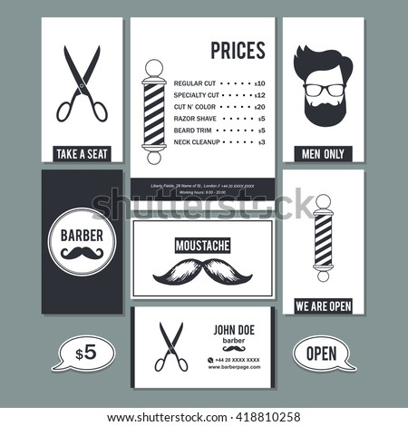 Hair salon barber shop vintage sign and services prices design business cards template set.