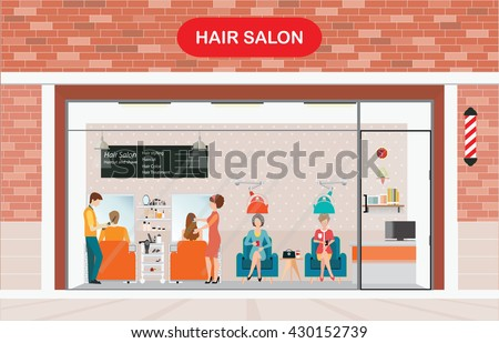 Hair salon building and interior with customer, vector illustration.