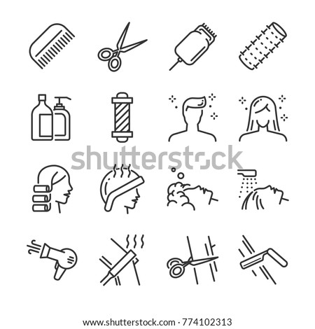 Hair salon icon set. Included the icons as hair cut, cleaning, barber, hair dryer, clipper, hair curler and more.