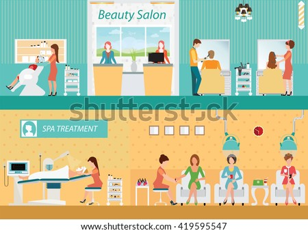 Hair salon interior building with customer, hairdresser fashion model,vector illustration.