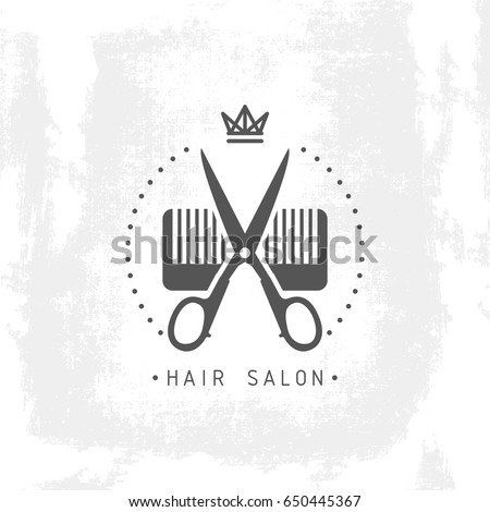 Hair salon logo scissors comb vector illustration grunge background