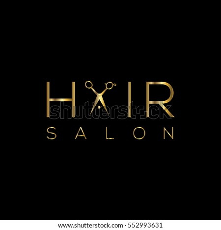 Hair salon logo with scissors golden / vector illustration