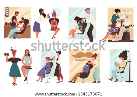 Hair salon or barbershop, men and women in beauty salon, barbers and hairdressers isolated icons vector. Cutting beard and making hairstyle, dying and washing head. Makeup and hairdo, drying haircut