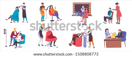Hair salon set with doodle human characters of hairdressers and their clients with pieces of furniture vector illustration