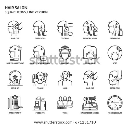 Hair salon, square icon set. The illustrations are a vector, editable stroke, thirty-two by thirty-two matrix grid, pixel perfect files. Crafted with precision and eye for quality.