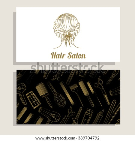 Hair salon. Vector set of logotype and visit card. Hand drawn illustration.