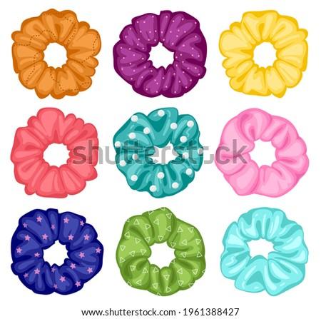 Hair scrunchies. Cartoon elastic hairdo bands, textile elastic rings, girlish hairstyle. Women hairdressing scrunchies vector illustration set. Hair textile and cartoon elastic old-fashioned for hair