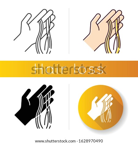Hair strands on hand icon. Alopecia and hairloss. Dermatology and beauty issue. Stress and anxiety symptom. Thinning and shedding hair. Linear black and RGB color styles. Isolated vector illustrations