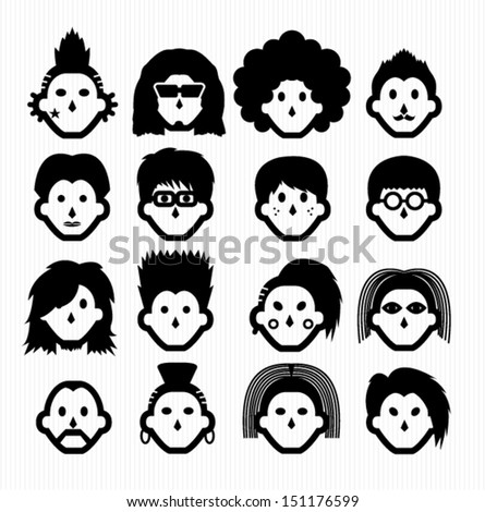 Hair Style Icons : Hair Style Icons Stock Vector Illustration 151176599 : Shutterstock