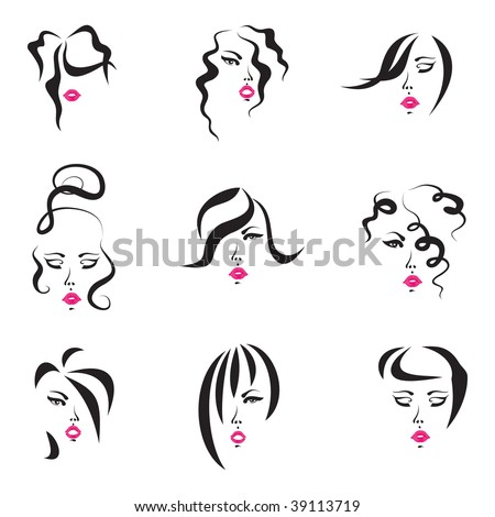 hairstyle drawings. Styles Set - drawings of