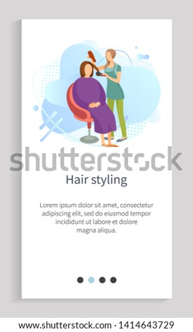Hair styling, hairdresser holding hairdryer and bush equipments, hairstyle to woman, people characters in salon, beauty care, liquid shape vector. Website slider app template, landing page flat style