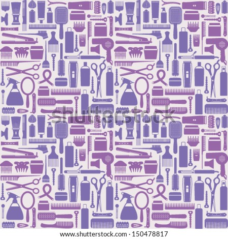 Hair styling related vector seamless pattern background 5