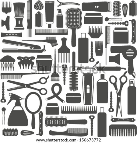 Hair Styling Related Vector Seamless Pattern Background 7 ...