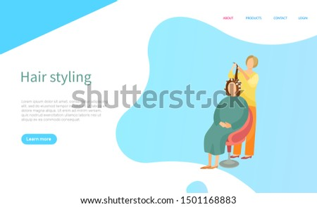 Hair styling screen of website with people. Hairdresser making hairdo for woman. Sitting client with curlers on head, interface menu of beauty salon. Vector illustration in flat cartoon style