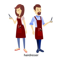 Hair stylists couple with scissors on white.