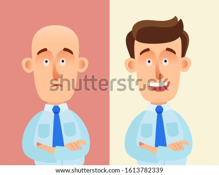 Hair transplantation. Bald man before and after surgery. Help with hair transplant. Happy person with new hair on head. Medical vector illustration, flat design, cartoon style. Isolated background.