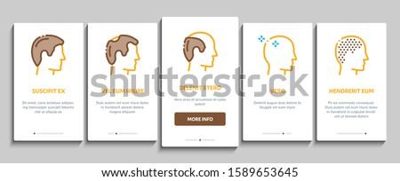 Hair Transplantation Onboarding Mobile App Page Screen. Balding And Baldness Man Head, Shampoo And Medicine In Bottle Transplantation Concept Illustrations