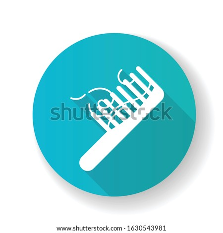 Hairbrush blue flat design long shadow glyph icon. Сomb with hair strands. Hairloss problem. Dermatology issue. Thinning and falling hair. Alopecia and balding. Silhouette RGB color illustration