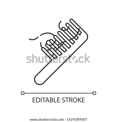 Hairbrush pixel perfect linear icon. Сomb with hair strands. Hairloss problem. Dermatology issue. Thin line customizable illustration. Contour symbol. Vector isolated outline drawing. Editable stroke