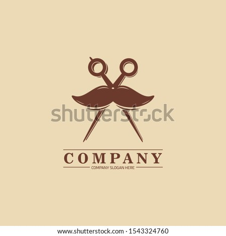 Haircut Barbershop Salon Logo Design with Scissor and Moustache Vector Illustration Template. - Vector