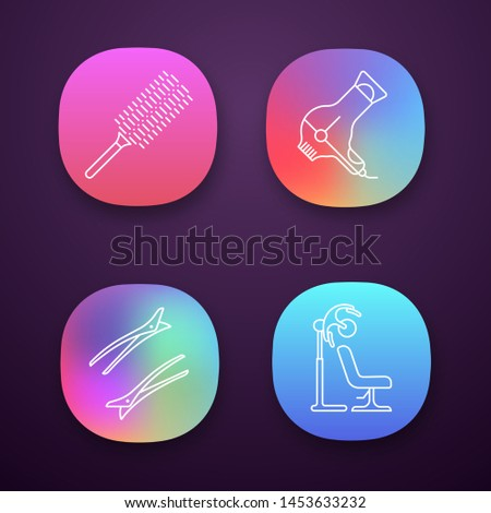 Hairdress app icons set. Professional hairstyling. Hairdresser tools. Comb, hairdryers, hair clips. Haircut and styling. UI/UX user interface. Web or mobile applications. Vector isolated illustrations