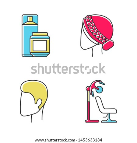 Hairdress color icons set. Barbershop, beauty salon services. Haircut, drying, styling. Hairspray and styling gel, stand hairdryer, man and woman hairstyle. Isolated vector illustrations