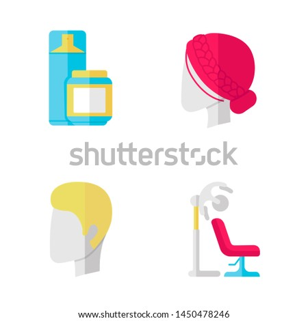 Hairdress flat design long shadow color icons set. Haircut, drying, styling. Hairspray and styling gel, stand hairdryer, man and woman hairstyle. Vector silhouette illustrations