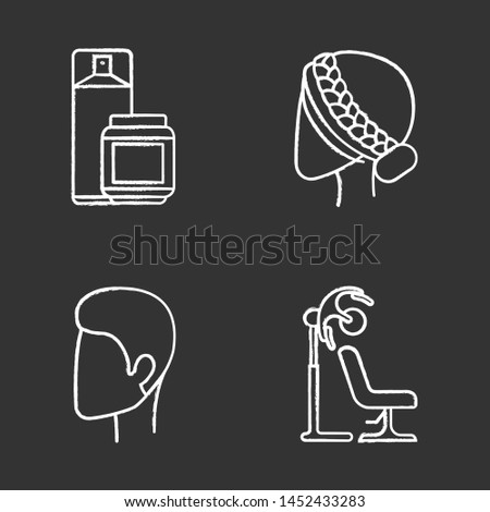 Hairdress glyph icons set. Beauty salon services. Haircut, drying, styling. Hairspray and styling gel, stand hairdryer, man and woman hairstyle. Silhouette symbols. Vector isolated illustration