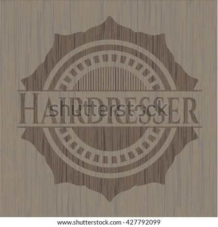 Hairdresser badge with wood background