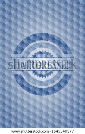 Hairdresser blue badge with geometric pattern. Vector Illustration. Detailed.