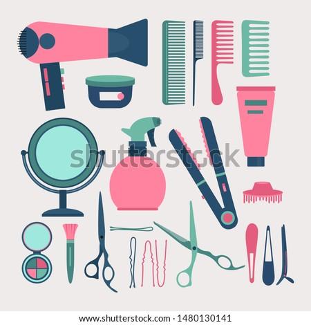 Hairdresser elements set vector illustration. Diverse equipment of hairdresser fan, scissors, hairbrush, barrette, styler and bobby pin flat style design. Barber salon concept
