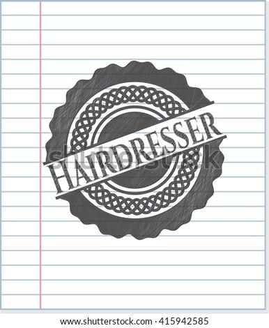 Hairdresser emblem drawn in pencil