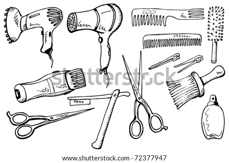 Hairdresser equipment set. Hand-drawn illustration converted to vectors.