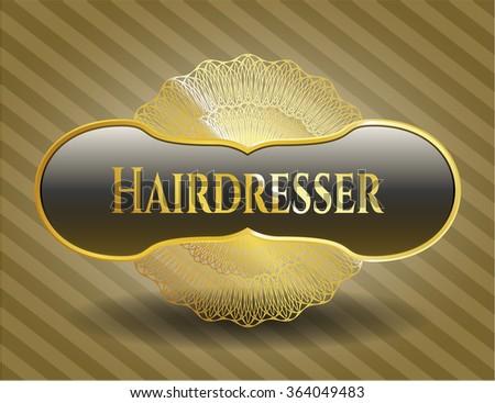 Hairdresser gold emblem or badge