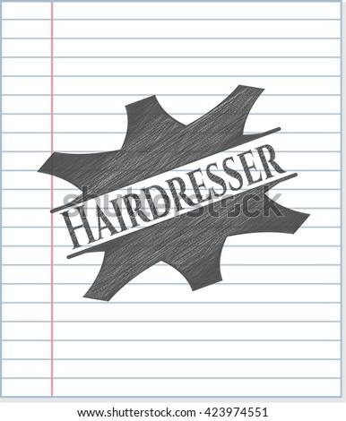 Hairdresser pencil strokes emblem
