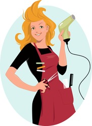 Hairdresser posing with a hair dryer and scissors, vector illustration