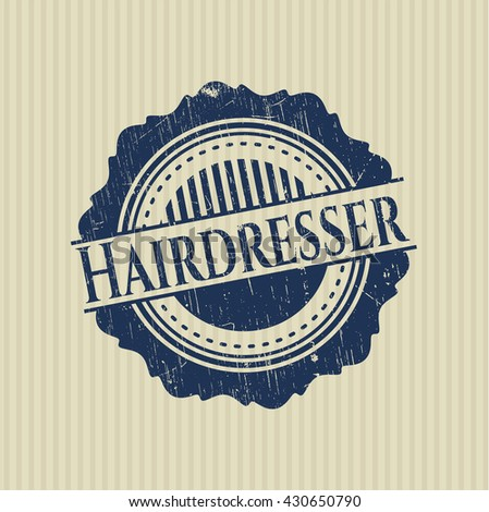 Hairdresser rubber stamp with grunge texture