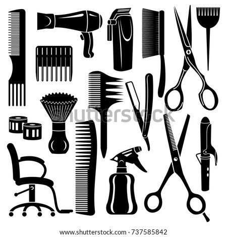 Hairdresser tools icons set. Simple illustration of 16 hairdresser tools vector icons for web
