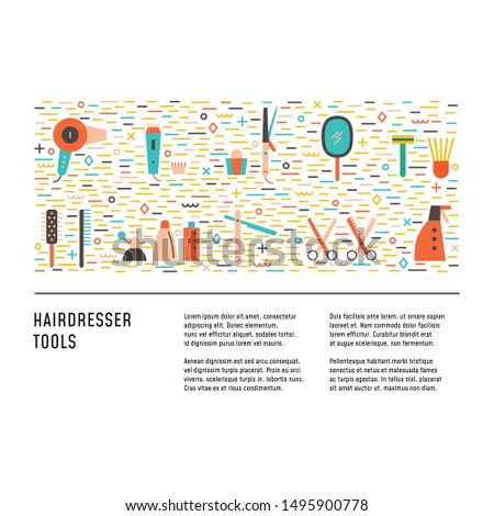 Hairdresser tools in colorful flat style. Design layout with place for text. Concept for magazine, flyer, web. Symbols of professional styling instruments.