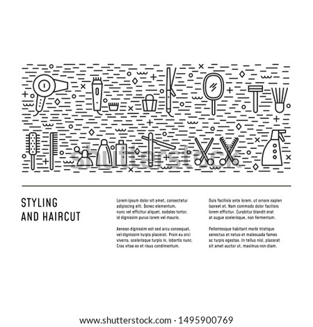 Hairdresser tools in line style. Design layout with place for text. Concept for magazine, flyer, web. Symbols of professional styling instruments.