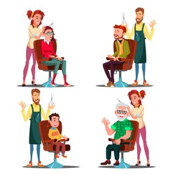 Hairdresser With Client Set Vector. Boy, Teen, Woman, Old Man. Professional Fashion Stylist. Service. Isolated Flat Cartoon Illustration