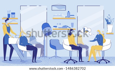 Hairdressing Beauty Salon Interior Flat Cartoon Vector Illustration. Stylist Washing Clients in Bath. Tables, Chairs, Mirrors, Hair Dryer, Shelves with Combs, Spray, Gel and Parfumes.