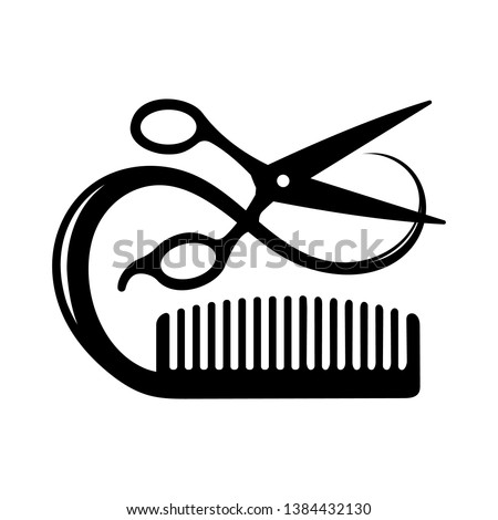 Hairdressing Conceptual icon of scissors cutting a lock of hair and hair brush. Vector illustration.