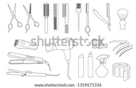 Hairdressing equipment and accessories.  Design elements of beauty salons and hair salons.  Isolated contour.  Vector