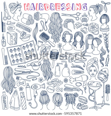 Hairdressing hand drawn doodle set. Beauty salon tools and equipment, various haircuts and hair styles. Vector illustration isolated on white background